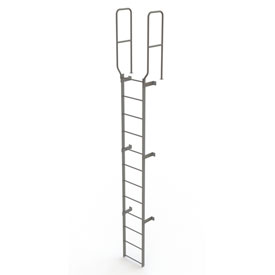 12 Step Steel Walk Through With Handrails Fixed Access Ladder, Gray - WLFS0212