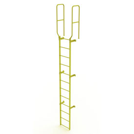 12 Step Steel Walk Through With Handrails Fixed Access Ladder, Yellow - WLFS0212-Y