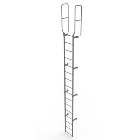 16 Step Steel Walk Through With Handrails Fixed Access Ladder, Gray - WLFS0216