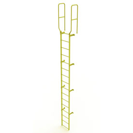 16 Step Steel Walk Through With Handrails Fixed Access Ladder, Yellow - WLFS0216-Y