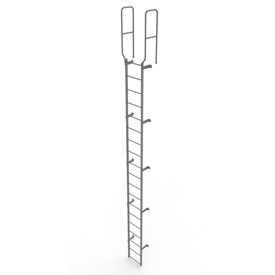 19 Step Steel Walk Through With Handrails Fixed Access Ladder, Gray - WLFS0219