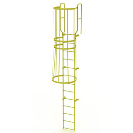 13 Step Steel Caged Walk Through Fixed Access Ladder, Yellow - WLFC1213-Y