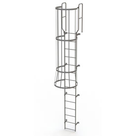 14 Step Steel Caged Walk Through Fixed Access Ladder, Gray - WLFC1214