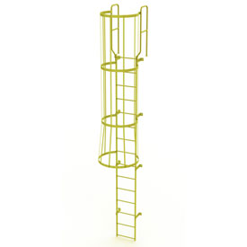 15 Step Steel Caged Walk Through Fixed Access Ladder, Yellow - WLFC1215-Y