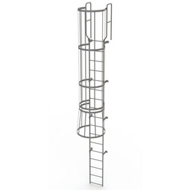 17 Step Steel Caged Walk Through Fixed Access Ladder, Gray - WLFC1217