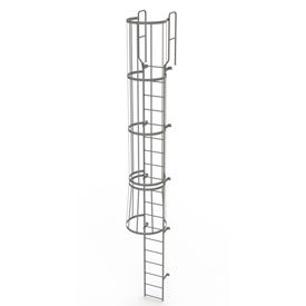 19 Step Steel Caged Walk Through Fixed Access Ladder, Gray - WLFC1219