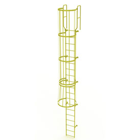 19 Step Steel Caged Walk Through Fixed Access Ladder, Yellow - WLFC1219-Y