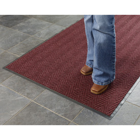 Chevron Ribbed  Mat 4 Foot Wide  Burgundy