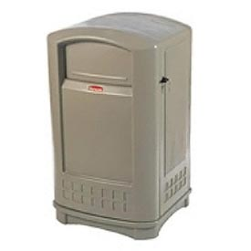 Rubbermaid Plaza Waste Receptacle With Ashtray Top - Beige