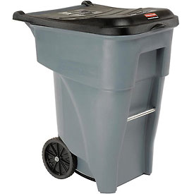 65 Gallon Rubbermaid Large Mobile Waste Receptacle - Gray With Lid