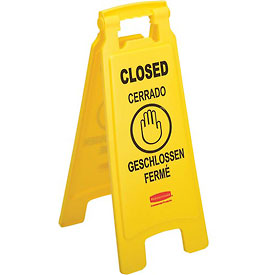 Rubbermaid® 6112-78 Floor Sign 2 Sided Multi-Lingual - Closed