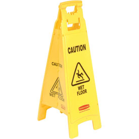 Rubbermaid® 6114-77 Wet Floor Sign, 4-Sided Yellow