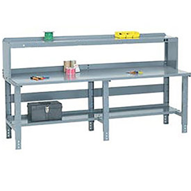 "96"" W x 36"" D Extra Long Steel Workbench- Gray"