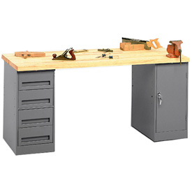 "72 W"" x 30 D"" Pedestal Workbench 4-Drawer And Cabinet Pedestal"