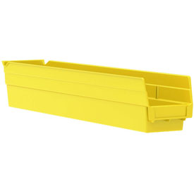 "Akro-Mils Plastic Shelf Bin Nestable 30124 - 4-1/8""D x 23-5/8""D x 4""H Yellow - Pkg Qty 12"