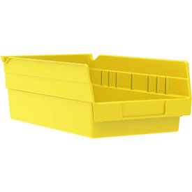 "Akro-Mils Plastic Shelf Bin Nestable 30130 - 6-5/8""W x 11-5/8""D x 4""D Yellow - Pkg Qty 12"