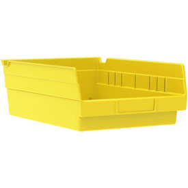"Akro-Mils Plastic Shelf Bin Nestable 30150 - 8-3/8""W x 11-5/8""D x 4""H Yellow - Pkg Qty 12"