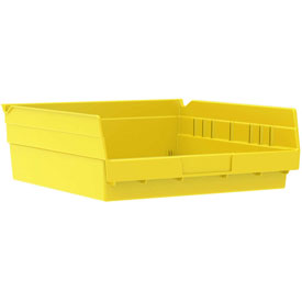 "Akro-Mils Plastic Shelf Bin, 11-1/8""W x 11-5/8""D x 4""H Yellow - Pkg Qty 12"