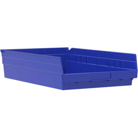 "Akro-Mils Plastic Shelf Bin Nestable 30178 - 11-1/8""W x 17-5/8""D x 4""H Blue - Pkg Qty 12"