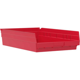 "Akro-Mils Plastic Shelf Bin, 11-1/8""W x 17-5/8""D x 4""H Red - Pkg Qty 12"