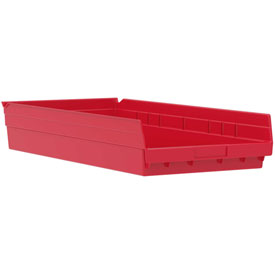 "Akro-Mils Plastic Shelf Bin Nestable 30174 - 11-1/8""W x 23-5/8""D x 4""H Red - Pkg Qty 6"