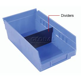 "Akro-Mils Shelf Bin Divider 40170 For 11""W x 4""H Shelf Bins, Black, Price pack of 24"