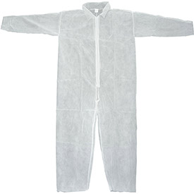 Disposable Coveralls With Open Ended Wrists/Ankles, White, XL - Pkg Qty 25