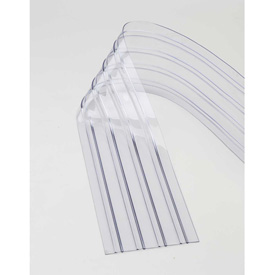 "Replacement 12"" x 7' Scratch Resistant Ribbed Clear Strip for Strip Curtains"