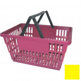 "Plastic Shopping Basket with Plastic Handle, Large,19-3/8""L X 13-1/4""W X 10""H, Yellow, Good L ® - Pkg Qty 12"