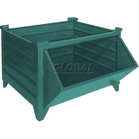 "Topper Stackable Steel Container 51017GHF Solid, Hopper Front, 35""L x 30""W x 24""H, Green"