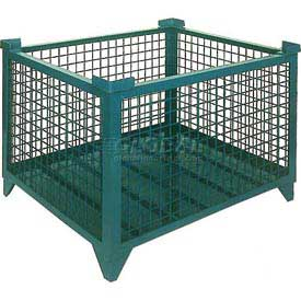 """Topper Stackable Steel Container 61006GDG Wire Mesh, Drop Gate, 35""""L x 35""""W x 24""""H, Green"""
