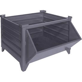 "Topper Stackable Steel Container 51008HF Solid, Hopper Front, 48""L x 35""W x 24""H, Unpainted"