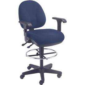 Task Stool With Arms - Fabric - 360° Footrest - Blue