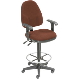 Operator Stool With Arms - Fabric - 360° Footrest - Burgundy