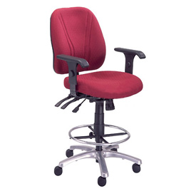 Manager Stool With Arms - Fabric - 360° Footrest - Burgundy