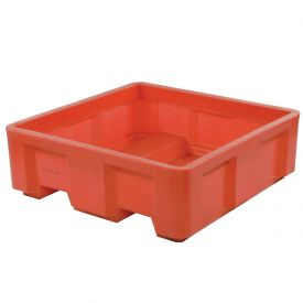 "Dandux Forkliftable Single Wall Skid Bulk Container 51-2180RD - 44"" x 25"" x 17-1/2"", Red"
