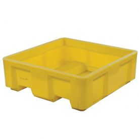 "Dandux Forkliftable Single Wall Skid Bulk Container 51-2141YL - 48"" x 48"" x 17-1/2"", Yellow"