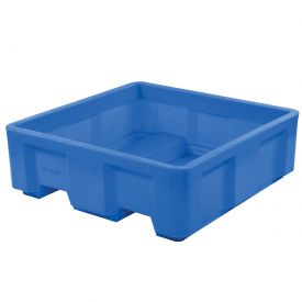 "Dandux Forkliftable Single Wall Skid Bulk Container 512177 - 62"" x 62"" x 21"", Blue"