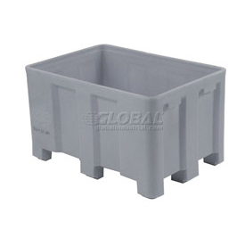 "Dandux Forkliftable Double Wall Skid Bulk Container 51-2120A - 36"" x 26"" x 22"", Gray"