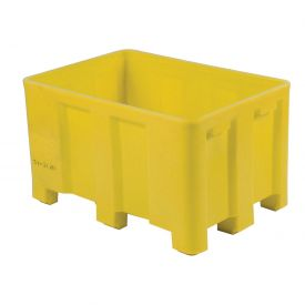 "Dandux Forkliftable Double Wall Skid Bulk Container 51-2126YL - 54"" x 44"" x 31"", Yellow"