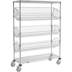 "Adjustable Mobile Wire Bin Rack - 36""W x 18""D x 69""H"