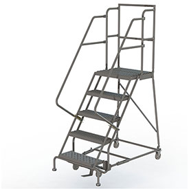 "Grip 24""W 5 Step Steel Rolling Ladder 20""D Top Step"