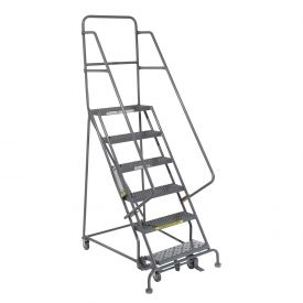 "6 Step 24""W 10""D Top Step Steel Rolling Ladder - Grip Tread"
