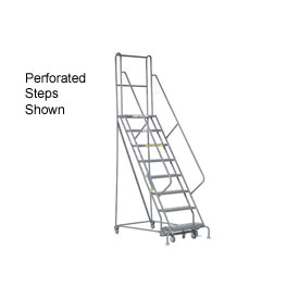 "8 Step 24""W 10""D Top Step Steel Rolling Ladder - Grip Tread"
