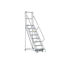 "8 Step 24""W 20""D Top Step Steel Rolling Ladder - Perforated Tread"