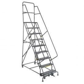 "9 Step 24""W 10""D Top Step Steel Rolling Ladder - Perforated Tread"