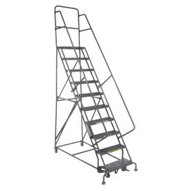 "10 Step 24""W 10""D Top Step Steel Rolling Ladder - Grip Tread"
