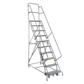 """10 Step 24""""W 10""""D Top Step Steel Rolling Ladder - Perforated Tread"""