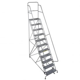 "11 Step 24""W 20""D Top Step Steel Rolling Ladder - Perforated Tread"