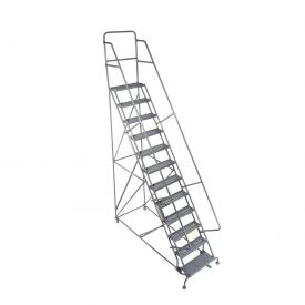 "13 Step 24""W 20""D Top Step Steel Rolling Ladder - Grip Tread"